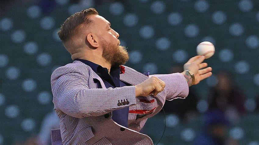 Видео: Конор МакГрегор не сумел сделать символический бросок на бейсбольном матче
