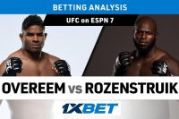 Ставки на UFC on ESPN 7: Коэффициенты букмекеров на турнир Алистар Оверим - Жаирзиньо Розенштруйк