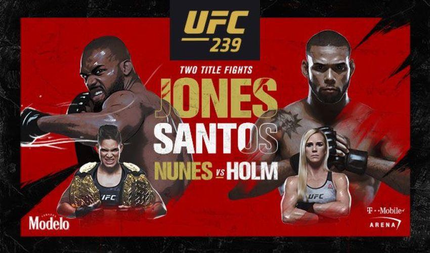 Файткард турнира UFC 239: Джон Джонс - Тиаго Сантос, Аманда Нуньес - Холли Холм