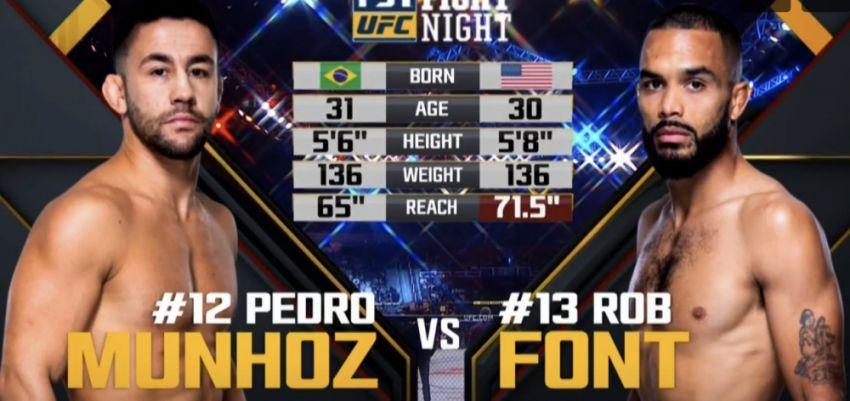 Видео боя Педро Муньос - Роб Фонт UFC Fight Night 119