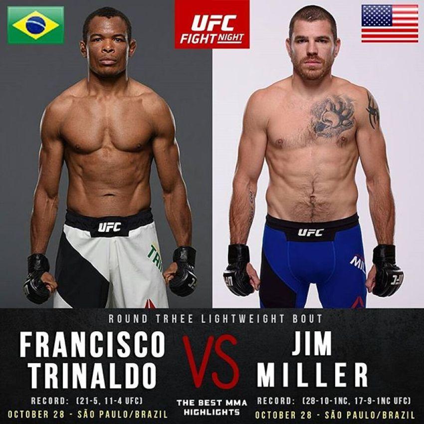 Видео боя Джим Миллер - Франсиско Триналдо UFC Fight Night 119