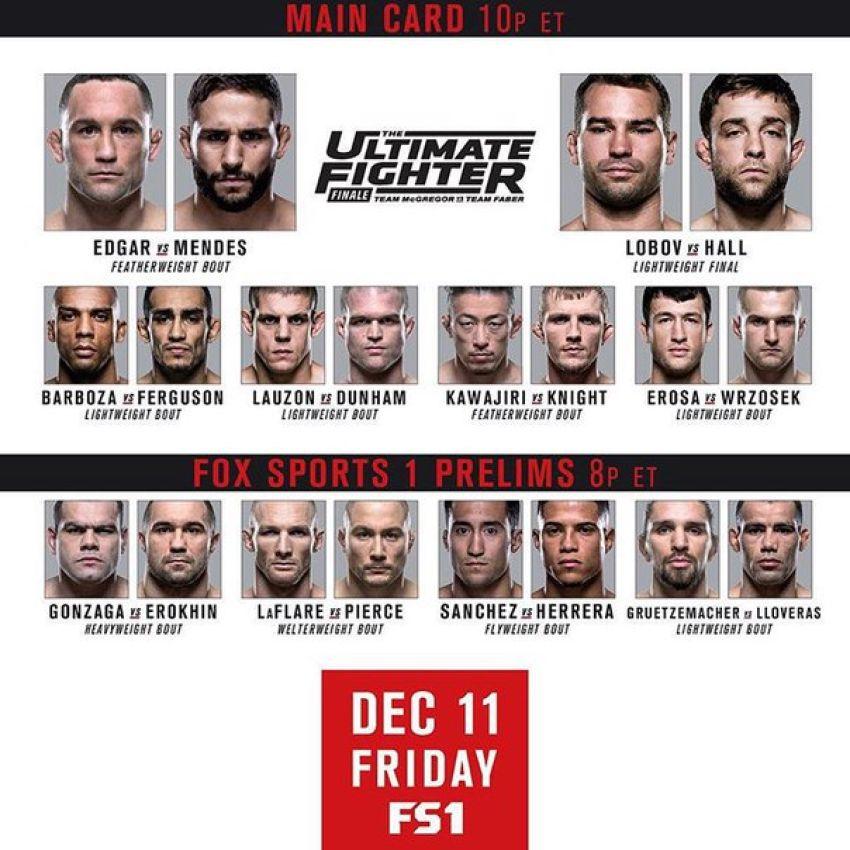 Прямая трансляция The Ultimate Fighter 22 Finale: Team McGregor vs. Team Faber