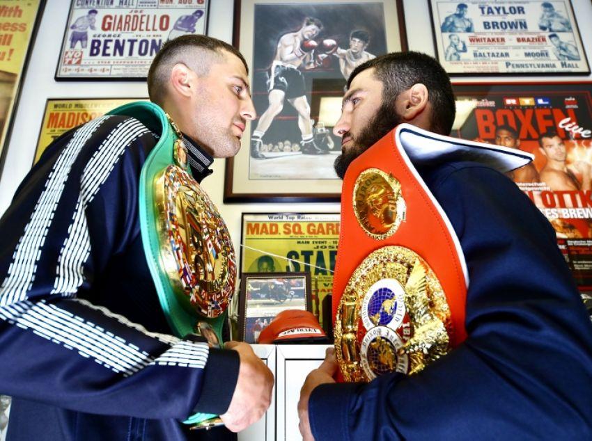 Александр Гвоздик и Артур Бетербиев встретились лицом к лицу на финальной пресс-конференции в Филадельфии