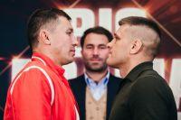 Фото: Геннадий Головкин и Сергей Деревянченко встретились лицом к лицу на пресс-конференции в Нью-Йорке