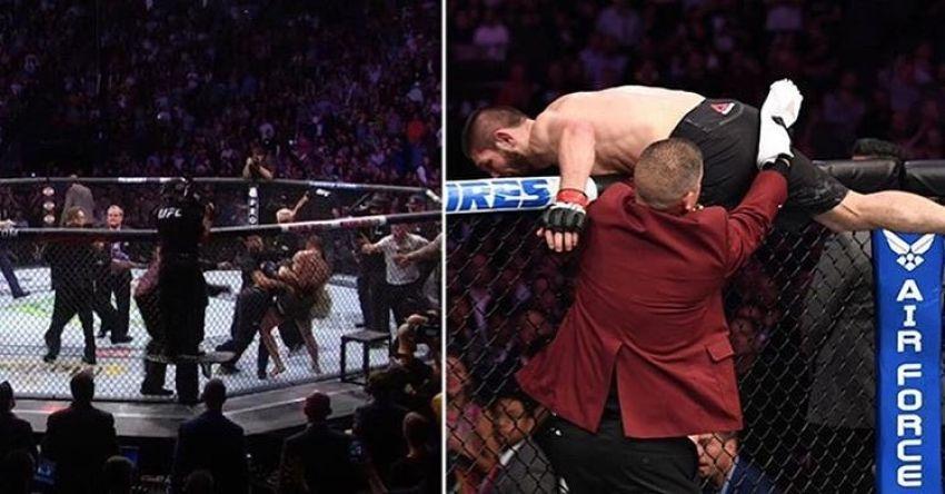 Массовая драка с участием Хабиба Нурмагомедова после победы на UFC 229