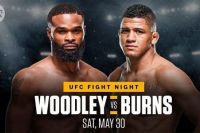 Файткард турнира UFC on ESPN 9: Тайрон Вудли - Гилберт Бернс
