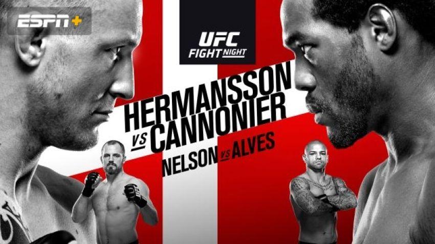 Файткард турнира UFC Fight Night 160: Джек Херманссон - Джаред Каннонье
