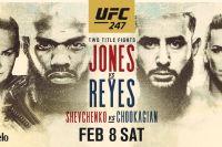 Файткард турнира UFC 247: Джон Джонс - Доминик Рейес, Валентина Шевченко - Кэтлин Чукагян