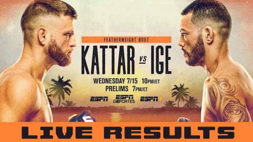 Результаты турнира UFC on ESPN 13: Келвин Каттар - Дэн Иге