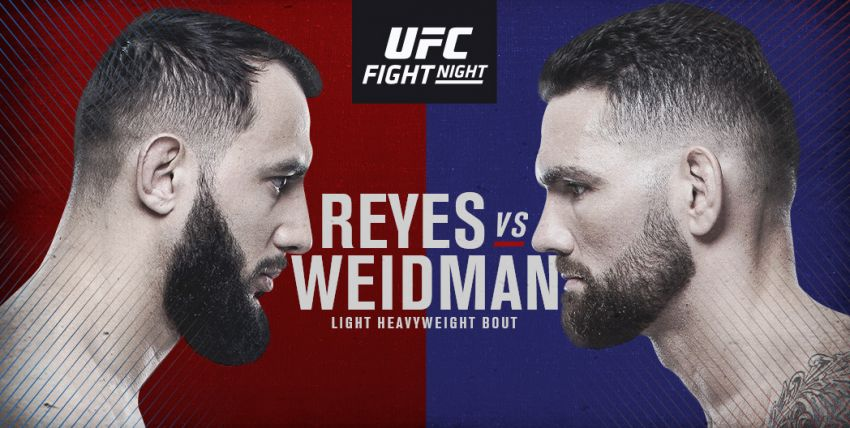 Файткард турнира UFC on ESPN 6: Крис Вайдман - Доминик Рейес