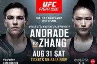 Прямая трансляция UFC Fight Night 157: Джессика Андраде - Вейли Жанг
