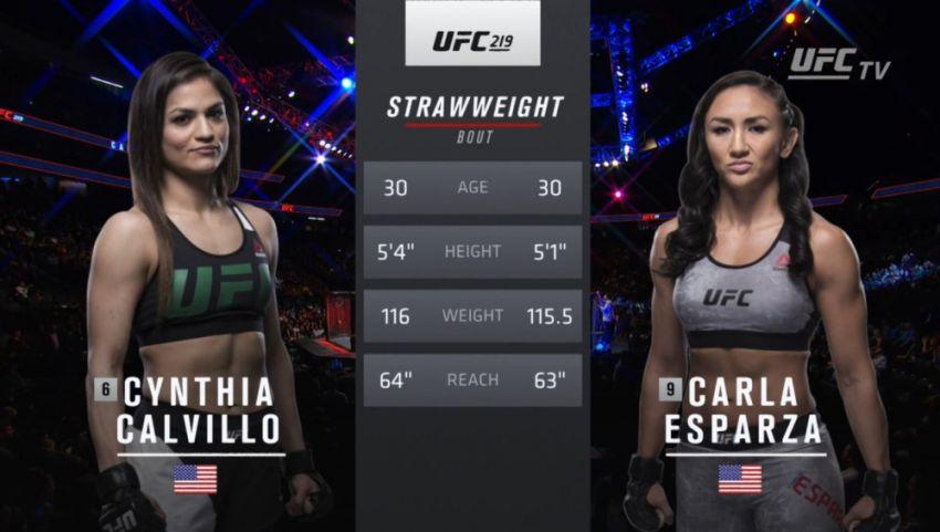 Видео боя Синтия Калвильо - Карла Эспарза UFC 219